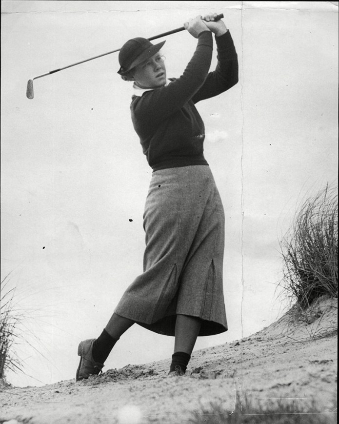 Golfer Patty Berg Playing A Friendly Fixture At Sandy Lodge.