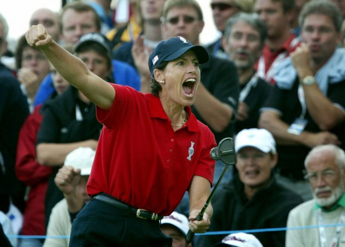 American Juli Inkster shouts of joy after her birdie putt on the eighth hole during Solheim Cup at Barseback Golf & Country Club in Loddekopinge, Sweden on Friday,  12 September 2003. Inkster and Beth Daniel defeated Swedish Sorenstam and Koch of the European team by one point. EPA PHOTO/PRESSENS BILD/OLA TORKELSSON//